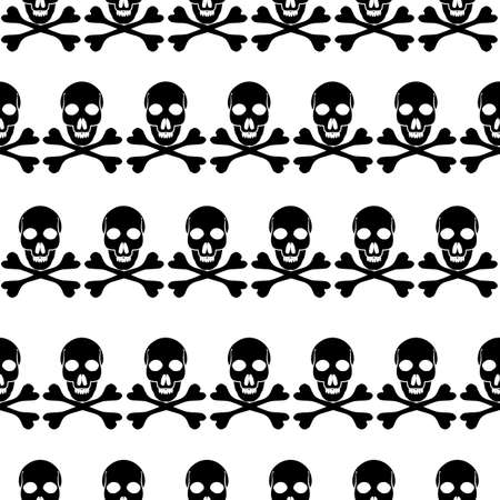 Skull and Bones seamless background typography graphics, bandana fashion design Ilustração