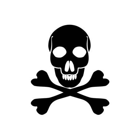Crossbones death skull, danger or poison flat icon for apps and websites