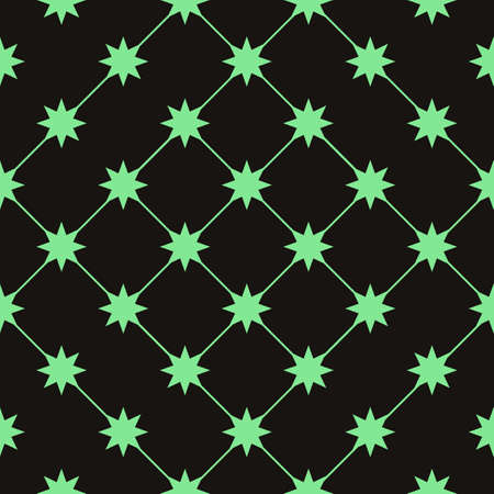 Vector seamless pattern. Modern stylish texture. Repeating geometric tiles with green stars. Illustration