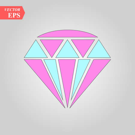 Diamond icon. Vector Illustration. Shiny crystal sign. Brilliant stone. Colorful crystal isolated on white background. Fashion modern design. Flat element. Symbol gift, jewel, gem or royal, rich. eps 10