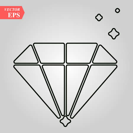 Diamond flat icon. Single high quality outline symbol of wedding for web design or mobile app. Thin line signs of love for design logo, visit card, etc. Outline logo of happy