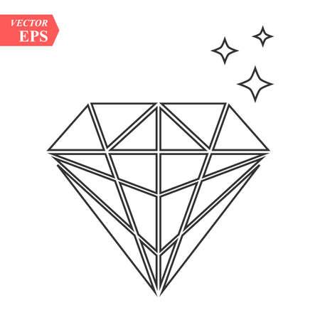 Diamond outline icon, modern minimal flat design style, thin line vector illustration eps 10