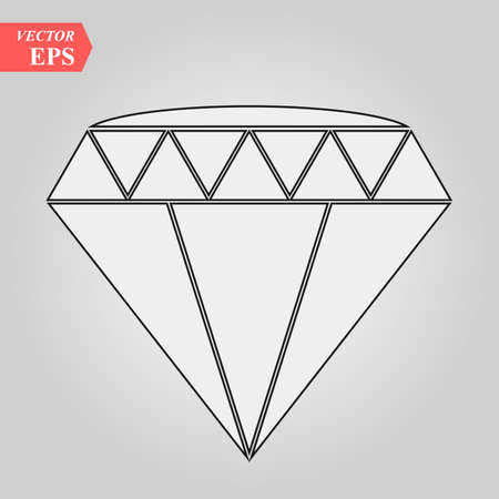 Diamond outline icon, modern minimal flat design style, thin line vector illustration eps10