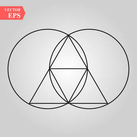 Sacred geometry - zen minimalism - vesca piscis -pointed oval figure used as an architectural feature and as an aureole enclosing figures such as Christ or the Virgin Mary in medieval art. eps 10  イラスト・ベクター素材