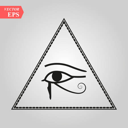 All-Seeing Eye of God The Eye of Providence Eye of Omniscience Luminous Delta Oculus Dei . Ancient mystical sacral symbol of Illuminati and Freemasonry. eps 10