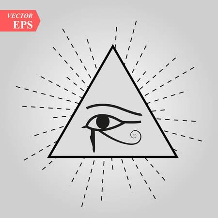 All-Seeing Eye of God The Eye of Providence Eye of Omniscience Luminous Delta Oculus Dei . Ancient mystical sacral symbol of Illuminati and Freemasonry. eps 10
