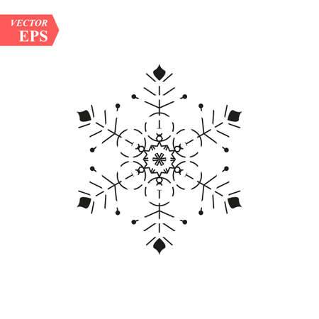Snowflake icon. Christmas and winter theme. Simple flat black illustration on white background. eps10