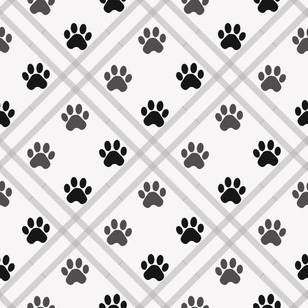 Paw print seamless. Traces of Cat Textile Pattern. Vector seamless eps 10