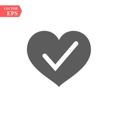 Heart with Yes check mark. Vector illustration. Gray heart with check mark on light background. eps10