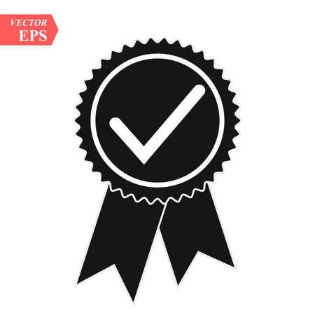 Illustrazione di un'icona di badge vettoriale isolato con un segno di spunta eps10 Vettoriali