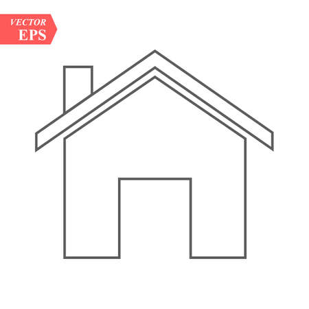 Outline Home Icon isolated on grey background. House pictogram. Line Homepage symbol for your web site design, logo, app, UI. Editable stroke. Vector illustration, Eps 10