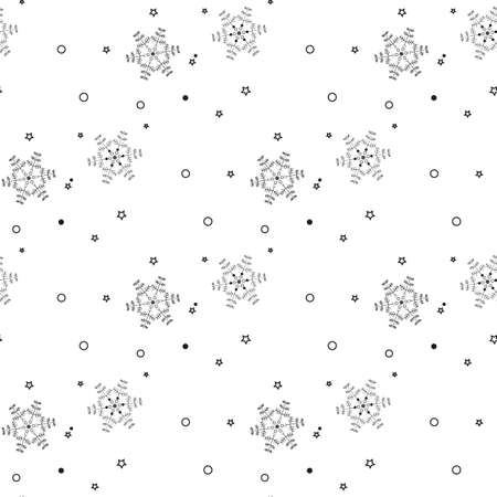 Christmas seamless pattern from gray snowflakes on white background eps10