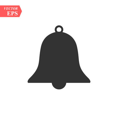 Bell Icon in trendy flat style isolated on grey background. Notification symbol for your web site design, logo, app, UI. Vector illustration, EPS 10. Иллюстрация