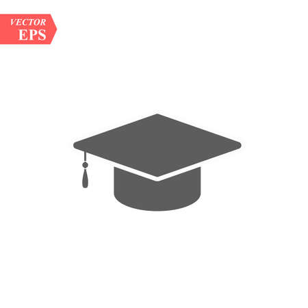Graduation hat vector icon isolated on white background Illustration