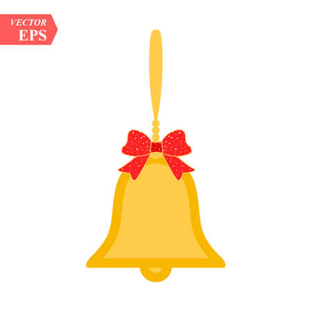 Vector illustration of shiny golden Christmas bells decorated with red bow eps10