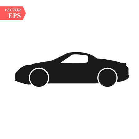 simple floating sports car icon viewed from the side colored in flat black with detailed rims eps10