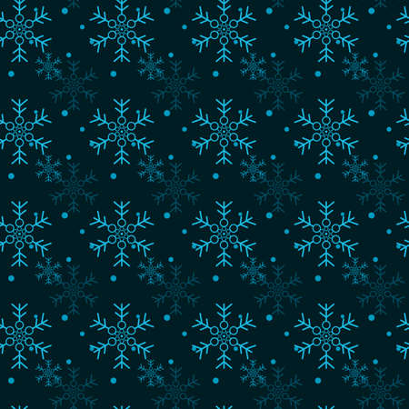 Christmas seamless pattern with snowflakes, vector black background eps10