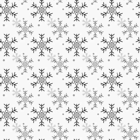 Snowflake simple seamless pattern. Blue snow on white background. Abstract wallpaper, wrapping decoration. Symbol of winter, Merry Christmas holiday, Happy New Year celebration Vector illustration eps10