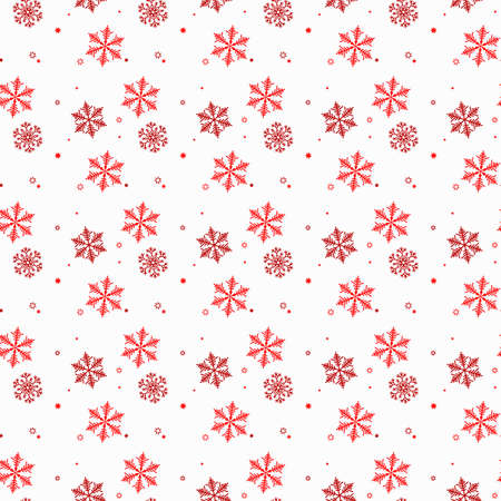 Vector seamless winter pattern background of snowflakes. Red snowflake pattern on isolated background. Winter background for packing, T - shorts, business. Christmas template eps10