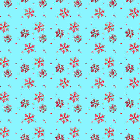 Red and black Snowflake seamless pattern. Snow on blue background. Abstract wallpaper, wrapping decoration. Symbol winter,Merry Christmas holiday, Happy New Year celebration Vector illustration eps 10