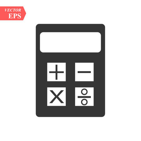 Calculator icon, black isolated vector illustration. eps10