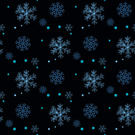Snowflakes decorated with circles and dots. Vector blue winter design on black background. Christmas and New Year theme. Happy smiling violet and blue snowflakes seamless pattern. eps 10
