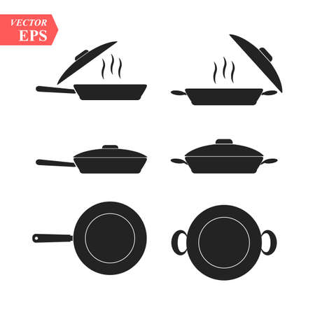 Frying Pans. Set of pan icon. Simple filled pan vector icon. On white background. eps 10