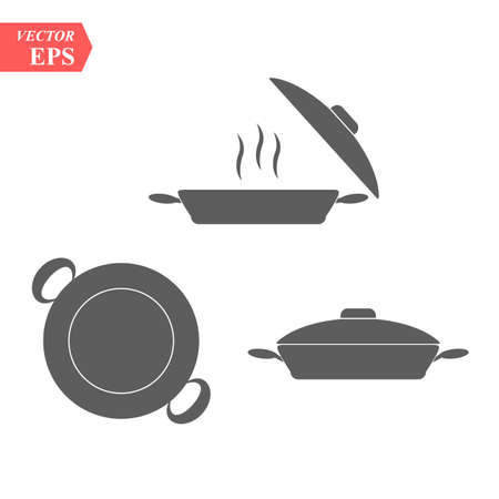 Set of pan icon. Simple filled pan vector icon. On white background. eps10