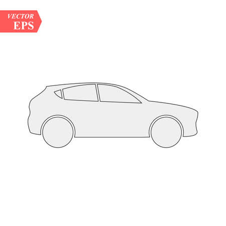 Simple Car Icon Vector. Flat Hatchback symbol. Perfect Black pictogram illustration on white background. eps10