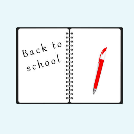 Back to school text on notebook page with a pen. Vector illustration eps10 Illustration
