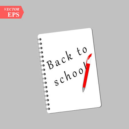 Back to school text on notebook page with a pen. Vector illustration eps 10