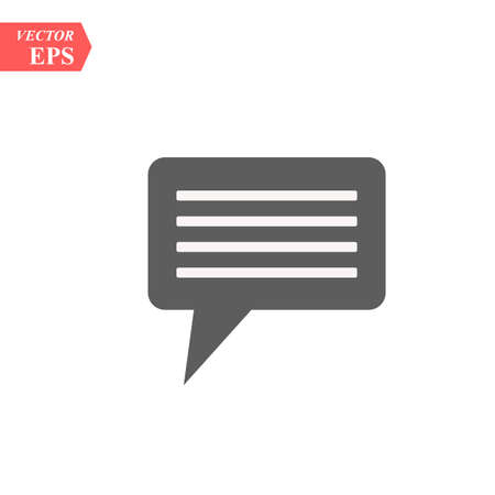 Chat Bubble, Dialog Box Isolated Flat Web Mobile Icon, Vector Sign Symbol Button Element Silhouette eps10