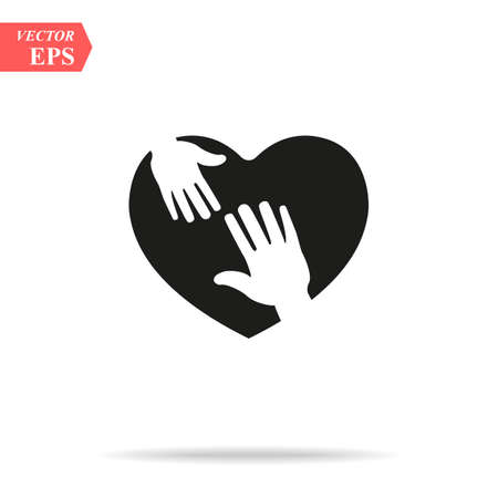 heart icon with caring hands. design white background vector illustration EPS10 Illustration
