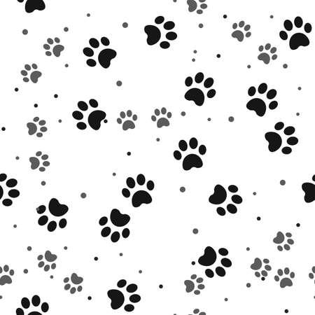 Dog paw print seamless pattern on white background eps10 Çizim