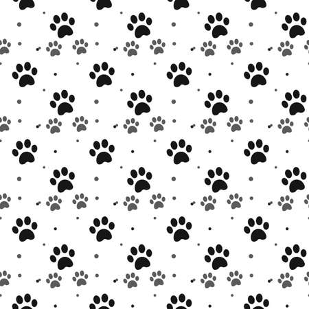 Dog paw print seamless pattern on white background eps10 Illustration