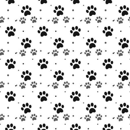 Hond poot print naadloze patroon op witte achtergrond eps10 Vector Illustratie