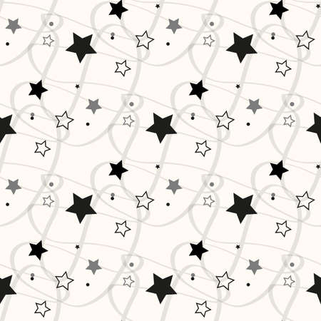 Stars Seamless Pattern. The vector image. Starry night sky eps10 Illusztráció
