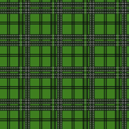 Seamless tartan plaid pattern in Christmas color palette of red, green white. Traditional checkered textile print. Tartan fabric texture background. Vintage plaid clothing design. Ilustracja