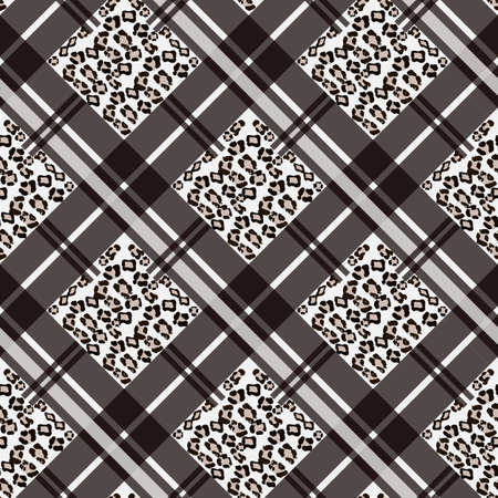 Scottish tartan grunge seamless pattern with leopard spots. Plaid with animal skin on white background Illustration