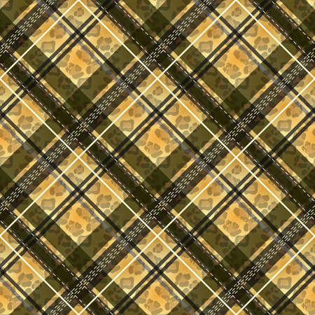 Scottish tartan grunge seamless pattern leopard spots. tartan with leopard style. eps10.