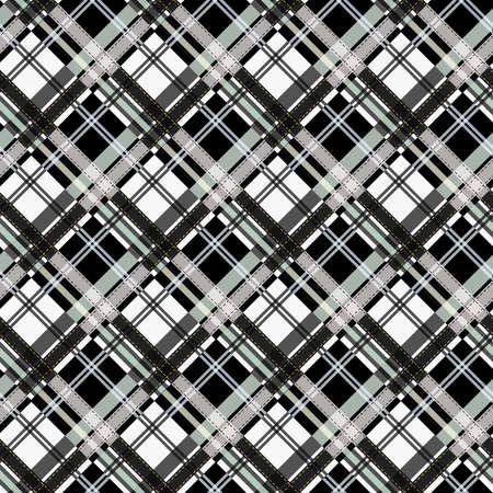 Seamless tartan plaid pattern in black white. eps 10