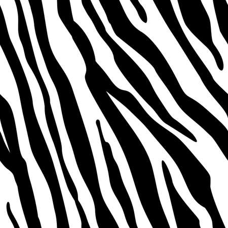 Zebra Stripes Seamless Pattern. Zebra print, animal skin, tiger stripes, abstract pattern, line background, fabric. Amazing hand drawn vector illustration. Poster, banner. Black and white artwork, eps10