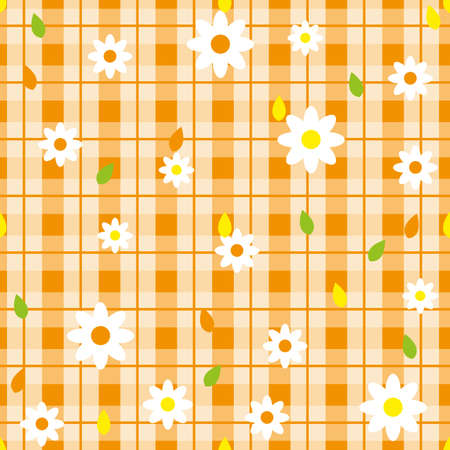 Floral seamless pattern with plaid background. Vector template. eps10