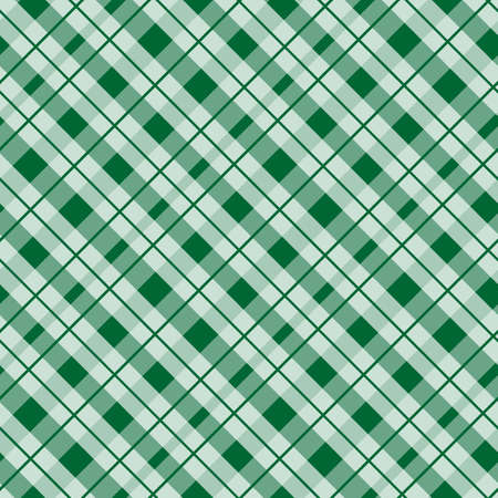 Green tartan fabric texture in a square pattern seamless vector illustration eps10