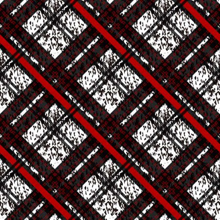 Seamless plaid check pattern in red, white and black. eps10