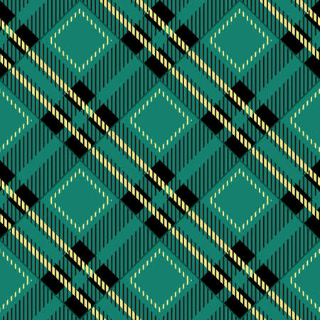 green tartan fabric texture diagonal pattern seamless vector illustration  イラスト・ベクター素材
