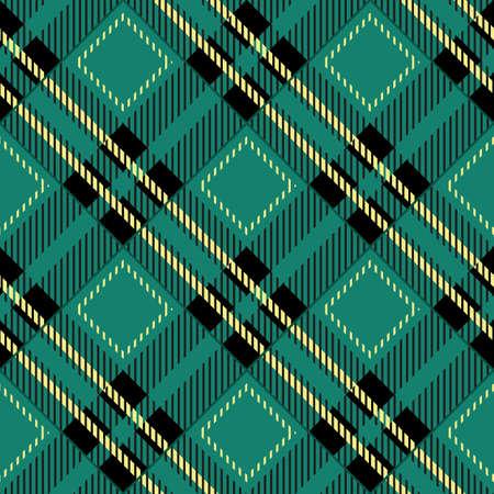 green tartan fabric texture diagonal pattern seamless vector illustration Vettoriali