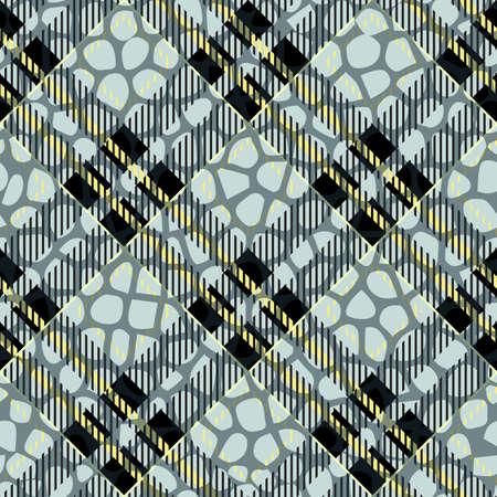 Plaid, tartan seamless with Crocodile Skin Pattern Leather. Crocodile. Skin. Wallpaper. Background. Monochrome. Paper. Textile. Fashion. Ebdless. Smooth. Graphic. Snake Illustration