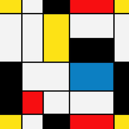 Seamless geometric abstract pattern. Mondrian style. Vector eps10 Ilustrace