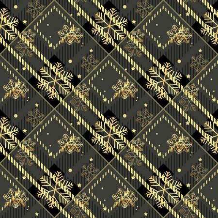 Golden snowflakes seamless on dark tartan fabric texture diagonal pattern seamless vector illustration